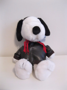 "PEANUTS 13"" SNOOPY PLUSH DOLL WITH LEATHER JACKET"