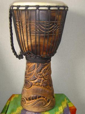 "SALE - 20""  Heavily Carved Djembe Bongo Drum DRAGONS M21 + FREE Take in"