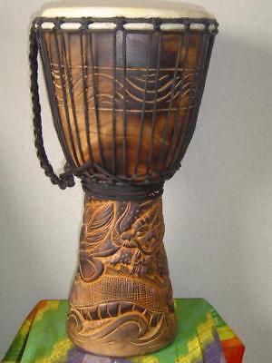 "SALE - 20""  Heavily Carved Djembe Bongo Drum DRAGONS M21 + FREE Take in"