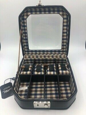 Tuscan Design Black Leather Jewelry Box Plaid Watch Case Black Designer Jewelry Box