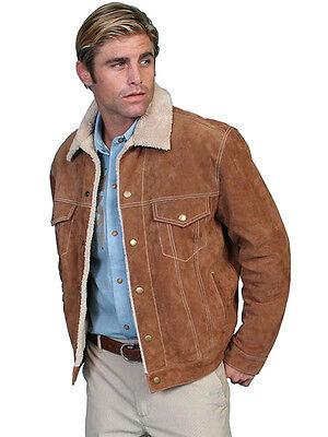Men's Scully Boar Suede Jean Faux Shearling Western Cowboy Rodeo Jacket Brown Boar Suede Western Coat Jacket