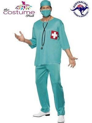 Mens Doctor Surgeon Scrubs Hospital ER Fancy Dress Costume Size M- L