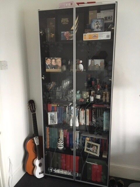 Ikea Billy Bookcase Dark Brown 80x202 Cm With Glass Doors In