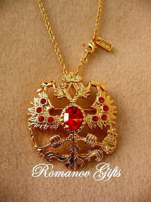Russian Imperial Romanov double Eagle Gold & Ruby Pendant Necklace / Brooch for sale  Highlands
