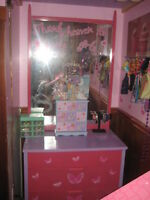girls pink and purple dresser with long mirror