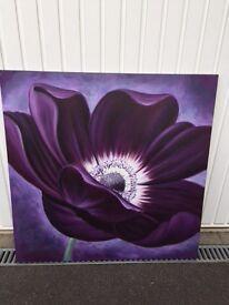 Purple flower canvas oil painting