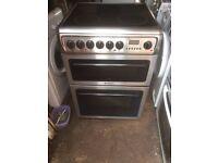 £128.00 hotpoint sls/Black ceramic electric cooker+60cm+3 months warranty for £128.00