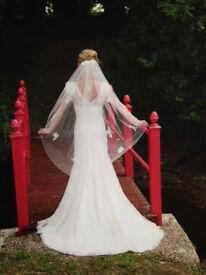 Designer Vintage lace wedding dress - as new - size 6