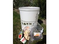 Beer / Wine Fermentation Equipment - unused items including a plastic barrel, corks and tubing