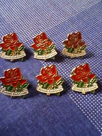 BRITISH RED CROSS RED ROSE PIN BADGES - NEW / UNUSED - 6 AS A JOB LOT
