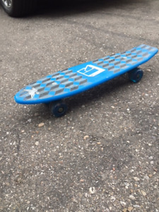 Blue White and Grey Skateboard with 2 cool Scooters