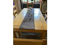 Large Dining Table Complete with 6 Chairs - 2 Separate leaves