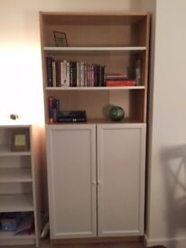 Bookcase / TV Cabinet - birch veneer shelving unit with half doors - price dropped to sell this week