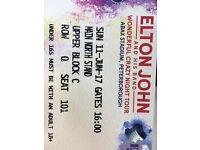 2 Elton John Tickets - 11th June ABAX Stadium Peterborough (GREAT SEATS!!)