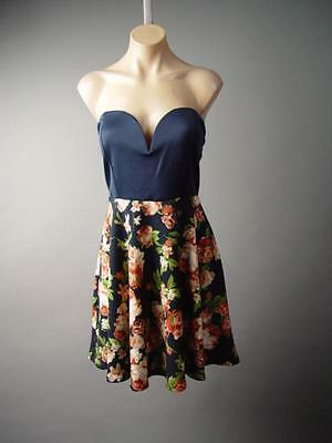 Low-Cut Sweetheart Bustier Floral Flare Full Skirt Party 135 mv Dress XL 2X 3XL Floral, Low Cut