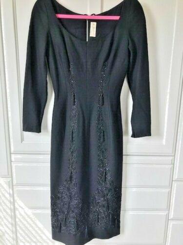 Vtg MR BLACKWELL Black Wool? Wiggle Sheath Dress Black Trim Tassels Stones