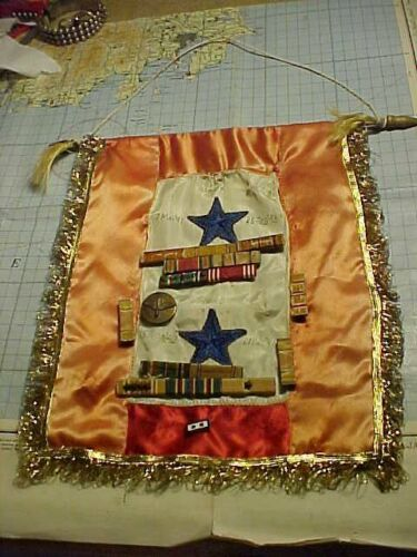ORIGINAL WWII TWO SONS IN SERVICE WINDOW BANNER PERSONALIZED WITH INSIGNIA