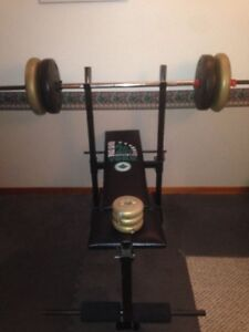 Adjustable York Bench Press with Weight Set