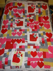 Quilt, Home Made, Titled Valentine
