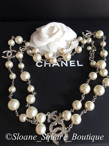 CHANEL CLASSIC 5 SILVER CRYSTAL  CC's WHITE PEARL 42