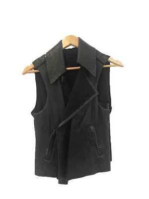 Designer Lisa Ho Size 8 Leather & Chiffon Biker Style Women's Vest