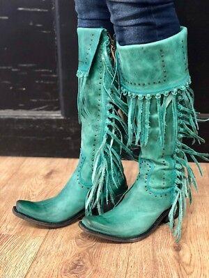 Turquoise Tall Shoes - Liberty Black Women's Turquoise Tall Fringe Narrow Square Toe Boots LB-71167