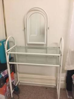 WROUGHT IRON MAKE UP TABLE WITH MIRROR & SHELVES
