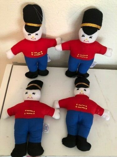 """4 Christmas Ornament Toy Soldier Dolls by """"Mine Alone"""""""