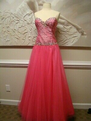 new $428 NWOT RIVA DESIGNS Pink Ball Corset Prom Gown Sweatheart Size - Corset Prom Gown