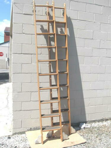 Antique Putnam Wooden Rolling Library Ladder 9 ft Long