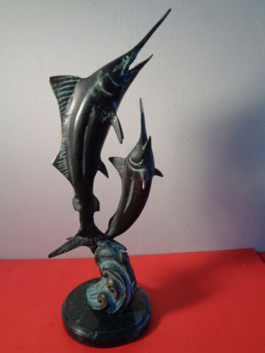"""S.P.I. Signed Jumping Marlins Bronze Sculpture on Marble Base (16 by 5 by 5"""")"""