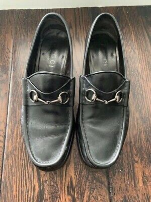 Vintage Gucci Black Leather Horsebit Loafers Men's 11 D Made in Italy
