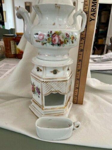 Veilleuse Tisaniere Teapot Warmer Stand Old Paris Porcelain Floral c1860