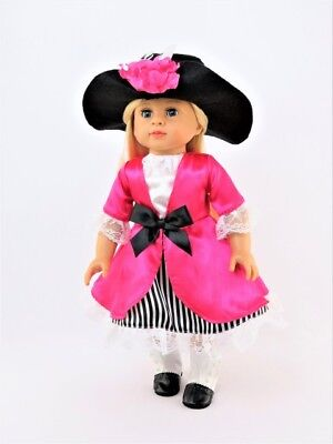 Pirate Hat For Girls (Pirate Dress & Hat Halloween Costume For 18 Inch American Girl Doll Clothes)
