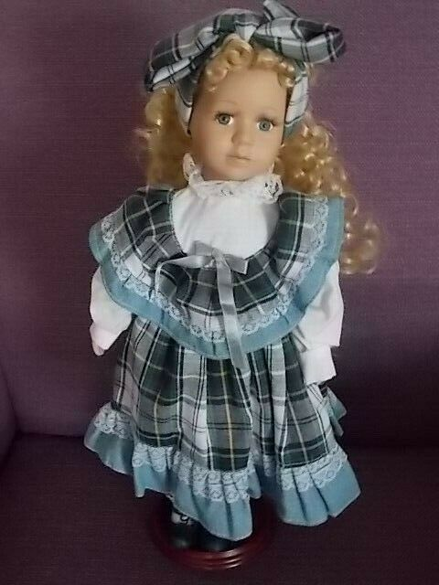 Porcelain Doll Blond Curly Hair Blue Eyes 16 Inch with Stand Plaid Dress