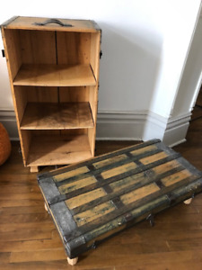 Coverted Antique chest, to a bookshelf and bench
