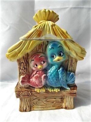 Vintage Lefton Love Birds & House Cookie Jar H7525 Anthropomorphic