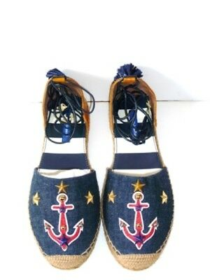 Dolce & Gabbana Anchor Embroidered Leather Espadrilles **BNIB** Size IT38-UK5