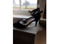 Brand new carvela suedette black shoes with ankle strap, size 4