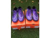 2 pairs of NIKE Hypervenom football boots , size 7 Studs and Astro's