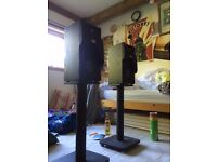 JBL Studio 130 speakers with Alphason stands