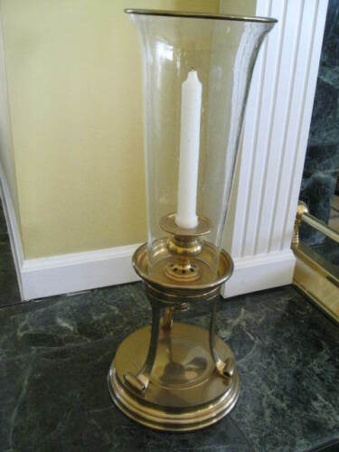 Chapman Seeded Glass  Brass Hurricane Candle Holder RARE - Circa 1995