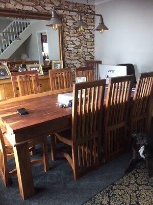 8 dinning room chairs Sheesham & mango solid wood medium colour