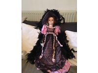 Priscilla ; Collectable Tall Porcelain Doll Dressed in Stunning Black Lace ; Brand New