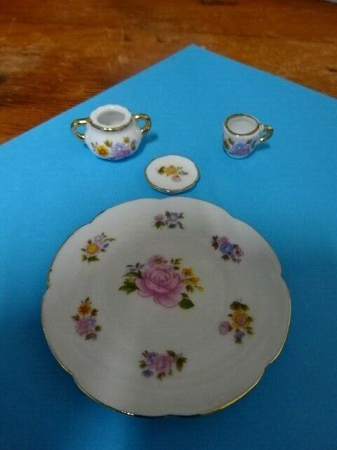 4 Pcs Dollhouse Miniature Porcelain Tea Dining Ware Dish Cup Plate Pink Rose - $5.00