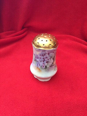 VINTAGE HAND PAINTED SUGAR/PEPPER SHAKER ORNATE GOLD TRIM VIOLETS