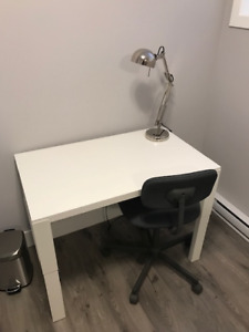 White Ikea Pahl desk with Bleckberget Swivel Chair