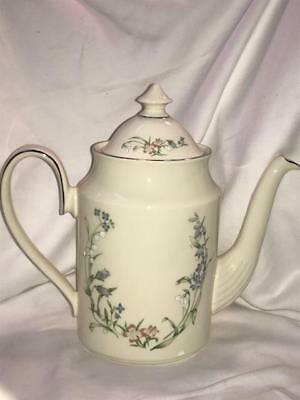 Minton Brookwood Fine Bone China Platinum Trim Coffee Pot & Lid Royal Doulton