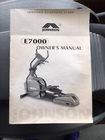 Johnson Elliptical E7000 Cross Trainer