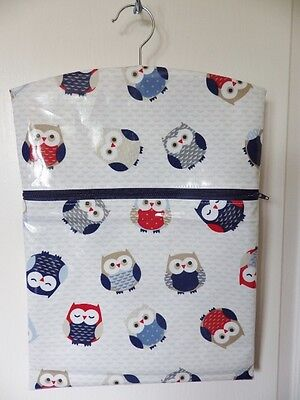 "Hand Made OILCLOTH Peg/Hanging Storage Bag Zipped 12½""x16"" RED/BLUE OWLS"